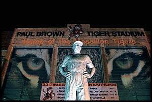 Paul Brown - Brown convinced Massillon Washington officials to build a new, bigger football stadium. Completed in 1939, the facility is named Paul Brown Tiger Stadium.