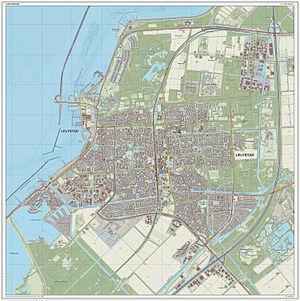 Lelystad - Dutch Topographic map of Lelystad (city), March 2014.