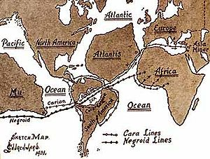 Mu (lost continent) - Churchward's map showing how he thought Mu refugees spread out after the cataclysm through South America, along the shores of Atlantis, and into Africa