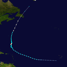 Track of long-lived hurricane across the Atlantic