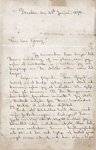 Peer Gynt (Grieg) - Letter from Henrik Ibsen to Grieg, January 23, 1874
