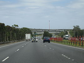 Approaching the Light Horse Interchange on the M4 Western Motorway