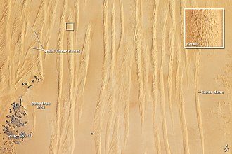 Great Sand Sea - Dune pattern in the Great Sand Sea, Egypt. NASA Earth Observatory.