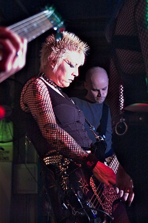 Lisa Pifer - Lisafer playing with 45 Grave in 2007.