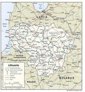 Geography of Lithuania - Political map of Lithuania