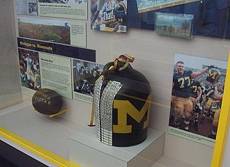 Little Brown Jug (college football trophy) - Replica of the Little Brown Jug on display in Ann Arbor, Michigan in 2007. The real jug is kept in storage.