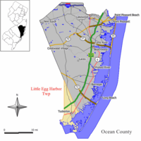 Map of Little Egg Harbor Township in Ocean County. Inset: Location of Ocean County highlighted in the State of New Jersey.