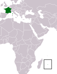 Map of France highlighting the Region of Reunion