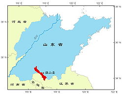 Location of the seat relative to Weishan Lake and in Shandong