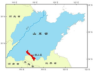 Weishan County, Shandong - Image: Location of Weishan Lake