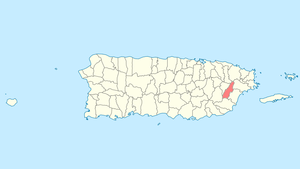 Location of Las Piedras in Puerto Rico