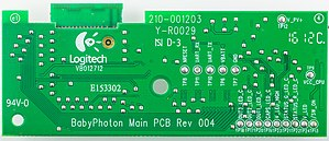 """UL 94 - Printed circuit board with the mark """"94V-0"""" in the bottom-left corner"""