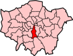 Lambeth shown within Greater London