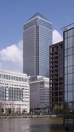 One Canada Square - One Canada Square, Canary Wharf; the second-tallest building in the United Kingdom