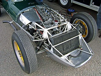 Lotus 16 - A Lotus 16 with its bonnet removed, clearly showing the spaceframe chassis and obliquely aligned engine. Also seen are details of the double wishbone front suspension.