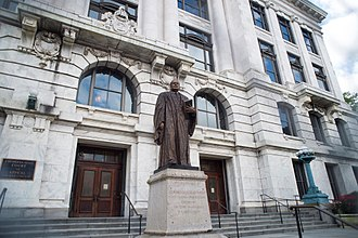 Louisiana Supreme Court - The Supreme Court Building in March 2018, Statue of Judge White in Foreground
