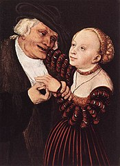 Lucas Cranach d. Ä. - Old Man and Young Woman - WGA05716