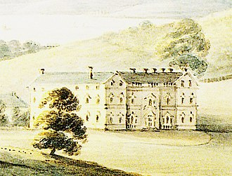 "Lupton, Brixham - ""Lupton, seat of Sir Francis Buller"", 1793 watercolour, view from south-west, by Rev John Swete. The Palladian gables topping both wings of the south front are now missing"