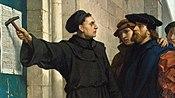 Gambar Luther sedang memasangkan 95 Tesis di pintu Gereja Wittenburg pada 1517, karya Ferdinand Pauwels.