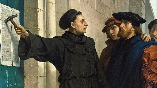 Luther posting his 95 Theses in 1517, by Ferdinand Pauwels [Public domain], via Wikimedia Commons