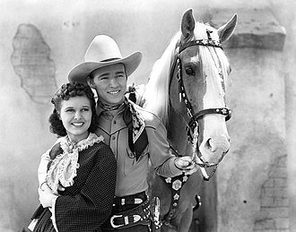 Yodeling - Lynne Roberts, Roy Rogers, and Trigger in Billy the Kid Returns, 1938