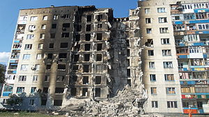 Ukrainian crisis - Damaged building in Lysychansk, 4 August 2014