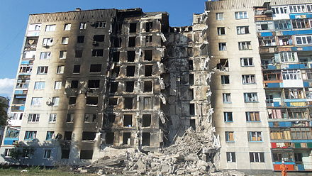 Damaged building in Lysychansk, 4 August 2014 Lysychansk 16.jpg