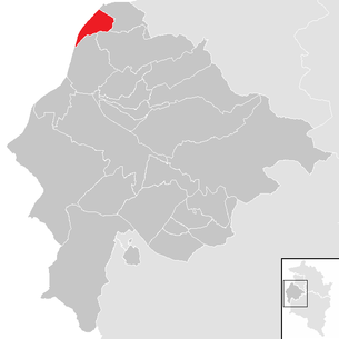 Location of the municipality of Mäder in the Feldkirch district (clickable map)