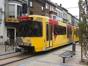 Charleroi Metro line 3 - A line 3 tram at Gosselies station on the line's opening day