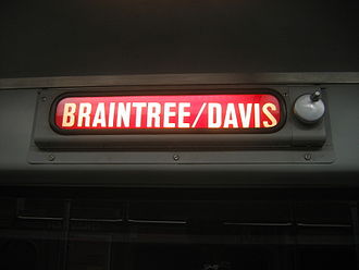 Destination sign - A rollsign on the MBTA Red Line in Boston. This sign has a hand crank to change the destinations displayed, but many rollsigns are motorized.
