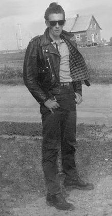 Typical North American greaser of Quebec . Canada . (circa 1960)