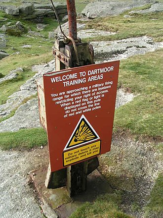 Dartmoor Training Area - MOD danger sign on Roos Tor
