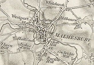 Westport, Wiltshire - Malmesbury and Westport from the Ordnance Survey one-inch map, first edition, 1828