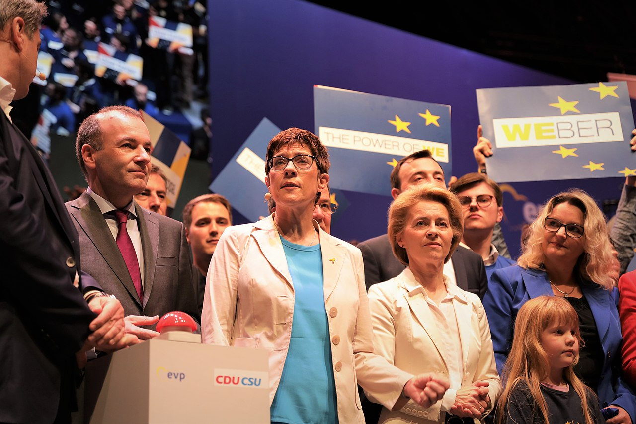 Manfred Weber, Annegret Kramp-Karrenbauer and Ursula von der Leyen.jpg
