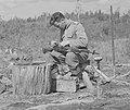 Mannerheim-ristin ritari Sauli Kousa puhdistaa kivääriään 18.7.1942.jpg