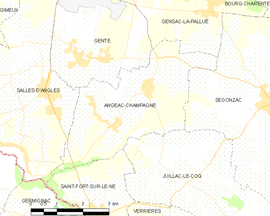 Mapa obce Angeac-Champagne