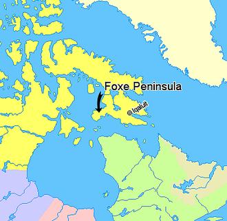 Foxe Peninsula - Image: Map indicating Foxe Peninsula, Nunavut, Canada