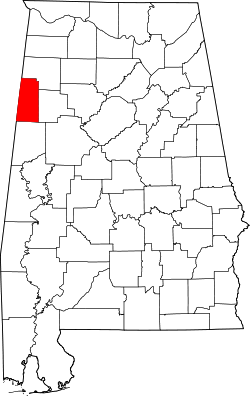 map of Alabama highlighting Lamar County