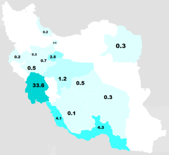 Iranian Arabs - Provinces of Iran based on the population of Arabs, according to the survey carried out by Ministry of Culture, 2010.