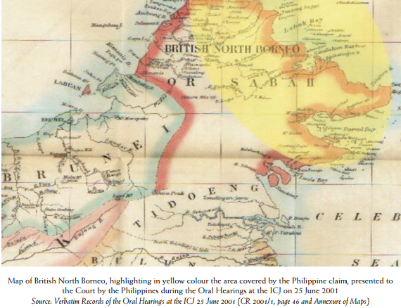 Map of British North Borneo, yellow area covered by the Philippine claim