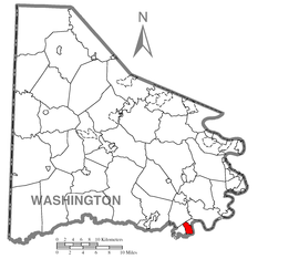 Map of Fredericktown-Millsboro, Washington County, Pennsylvania Highlighted.png