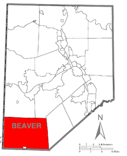 Map of Beaver County, Pennsylvania highlighting Hanover Township
