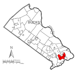 Map of Levittown, Bucks County, Pennsylvania Highlighted.png