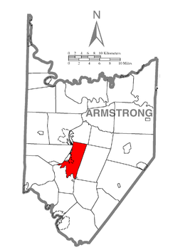 Map of Armstrong County, Pennsylvania highlighting Manor Township