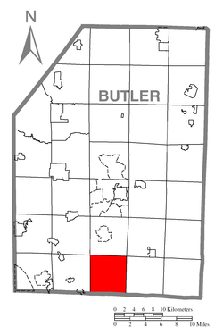 Map of Butler County, Pennsylvania highlighting Middlesex Township