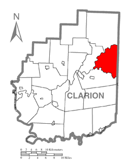 Map of Clarion County, Pennsylvania highlighting Millcreek Township