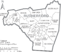 Map of Rutherford County North Carolina With Municipal and Township Labels.PNG