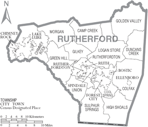 Rutherford County, North Carolina - Map of Rutherford County, North Carolina With Municipal and Township Labels