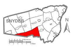 Map of Snyder County, Pennsylvania highlighting West Perry Township