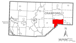 Location of Troy Township in Crawford County